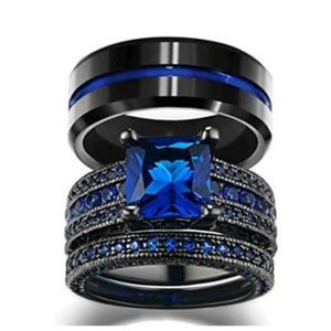his & hers wedding ring sets black & blue sapphire